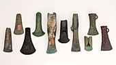Europe Bronze age axes from early to late