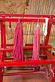 Coloured yarn at cochineal farm,Mexico