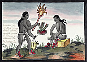 Aztec blood sacrifices,16th century