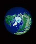 Geosphere computer screen image: north polar view