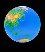 Simulated image of Asia & W.Pacific from space
