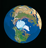 Whole earth centred on north pole