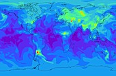 Global methane concentration,2004