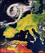 Satellite image of Europe with storm