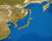 Cloudless satellite image of Japan & environs