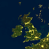 British Isles at night