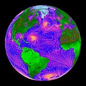 Atlantic storms,QuikSCAT radar image