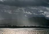 Rain squalls over a loch