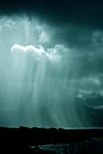 Rain shower over the Sound of Mull,Scotland