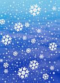 Computer-enhanced image of snowflakes fal