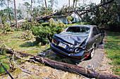 Crushed car after hurricane Katrina