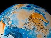 Arctic temperature anomaly,1981-1982