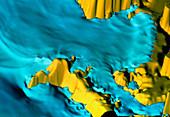Computer simulation of a tsunami in Cadiz Bay