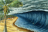 Tsunami artwork after Krakatoa explosion
