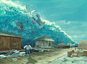 Artwork of a tsunami destroying a small harbour