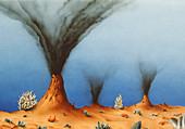 Illustration of deep sea life at hydrothermal vent