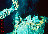Robot arm taking a sample of a hydrothermal vent