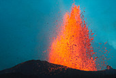 Fountain of lava from volcanic eruption,Iceland