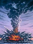 Artwork of explosion of Krakatau in 1883