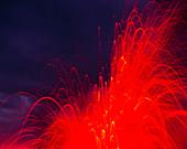 Explosion as a lava flow reaches the coast,Hawaii