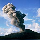 Column of ash rising from Anak Krakatau volcano