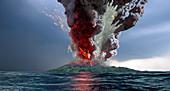 Krakatau volcano explosion,artwork