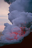 Steam from a Kilauea volcano lava flow
