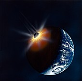 Asteroid impacting the Earth,artwork