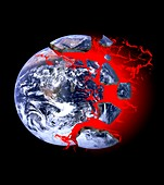 Earth exploding,conceptual image