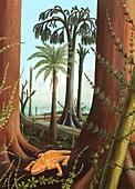 Carboniferous amphibian,artwork
