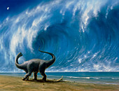 Titanosaurus watching an approaching tsunami