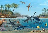 Jurassic landscape,artwork