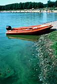 Recreational lake discoloured by blue-green algae