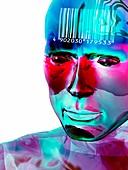 Humanoid and barcode,artwork
