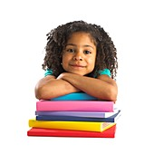 Young girl with school books