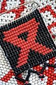 Beaded AIDS ribbon