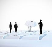 Figures on computer keyboard,artwork