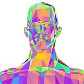Geometric abstract polygonal male head