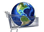 Globe inside a shopping trolley,artwork