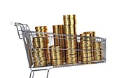 Gold coins inside a supermarket trolley