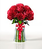 Red roses in a vase,artwork