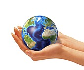 Person holding globe,artwork