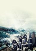 Tsunami hitting a city,artwork