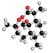 Artemisinin malaria drug molecule