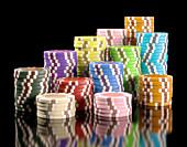 Stacks of gambling chips,illustration