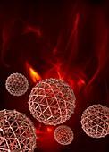 Spheres on red background,illustration