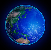 Asia and pacific ocean,illustration