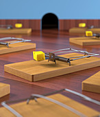 Mouse traps on the floor,illustration