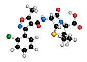 Cloxacillin antibiotic drug molecule