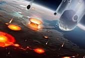 Artwork of comets seeding Earth's oceans